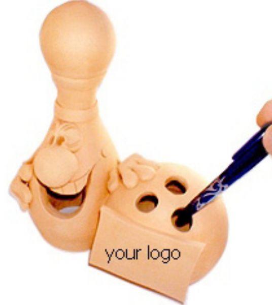 Керамическая фигурка ручкодержатель-шар и кегля 20см